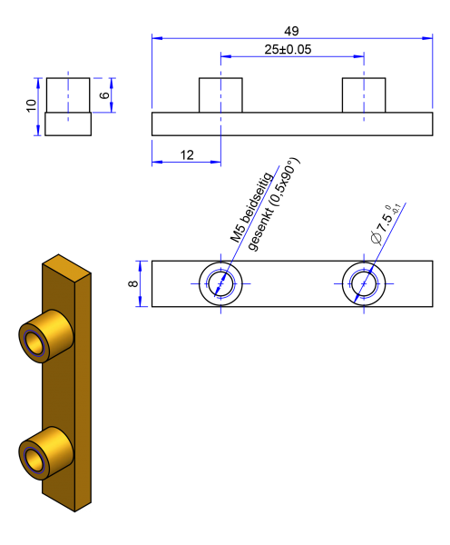 50AT20 Messing Nockenverbinder / Einlegeschiene / Ersatzzahn