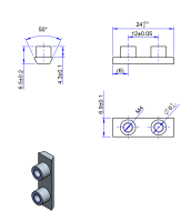 25AT10 Edelstahl Nockenverbinder / Einlegeschiene / Ersatzzahn