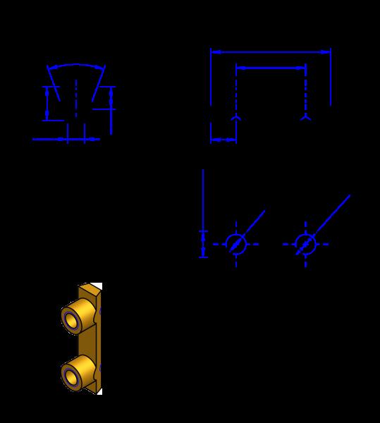 25T10 Messing Nockenverbinder / Einlegeschiene / Ersatzzahn