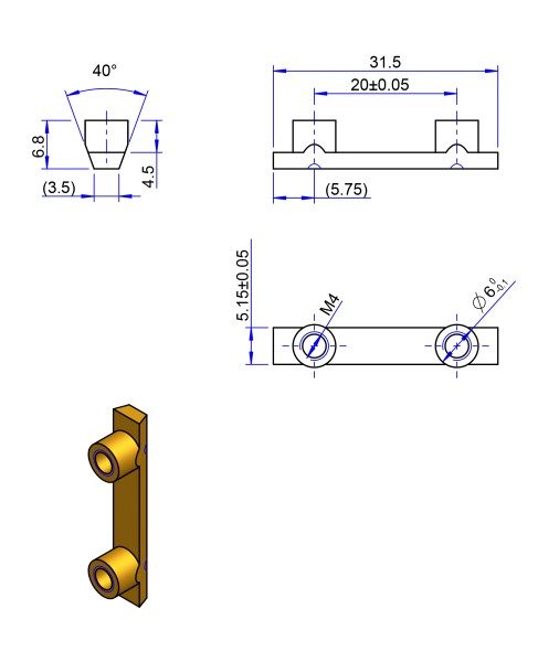 32T10 Messing Nockenverbinder / Einlegeschiene / Ersatzzahn